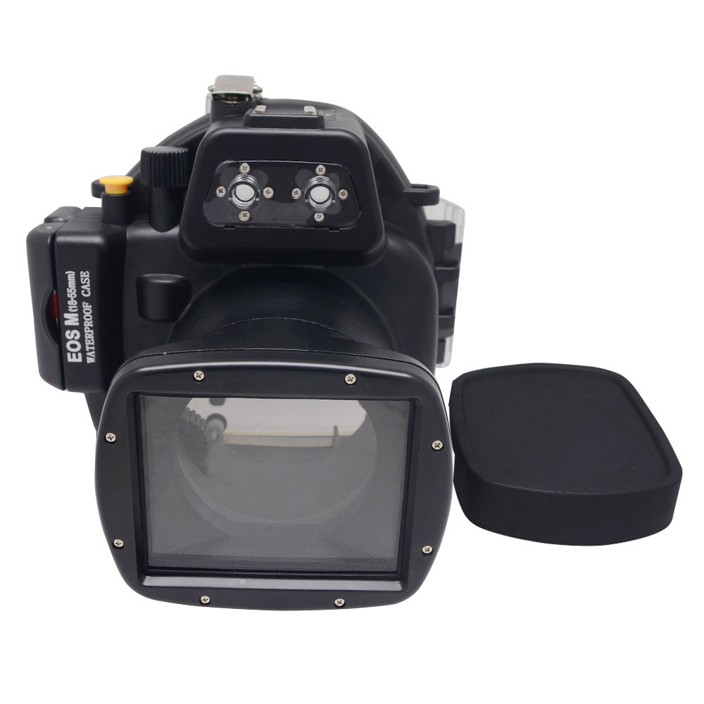 Mcoplus 40m/130ft Underwater Waterproof Camera Housing Case for Canon EOS M 18-55mm Lens 40m 130ft waterproof underwater camera housing case cover bag for canon eos 600d t3i camera two hands tray