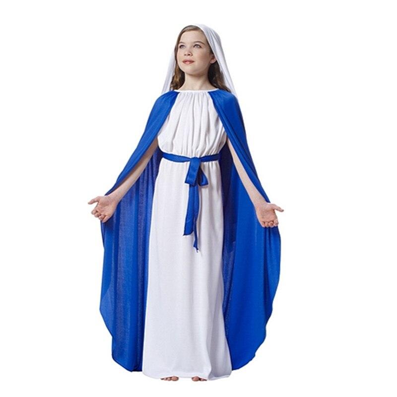 2018 Children Girls Virgin Mary Cosplay Costume Kids Drama ...