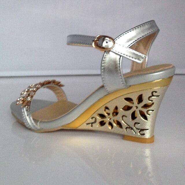 REAVE CAT New arrival Glittering Fashion Fretwork Heels Wedges sandals Rhinestone Silver Gold Summer sandals Sexy Sale QL4277