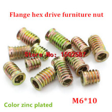 100pcs/lot M6*10 Color Zinc Coated Flange Hex Drive Head Furniture Nut  Internal External Thread Screw For Wood Insert Nut