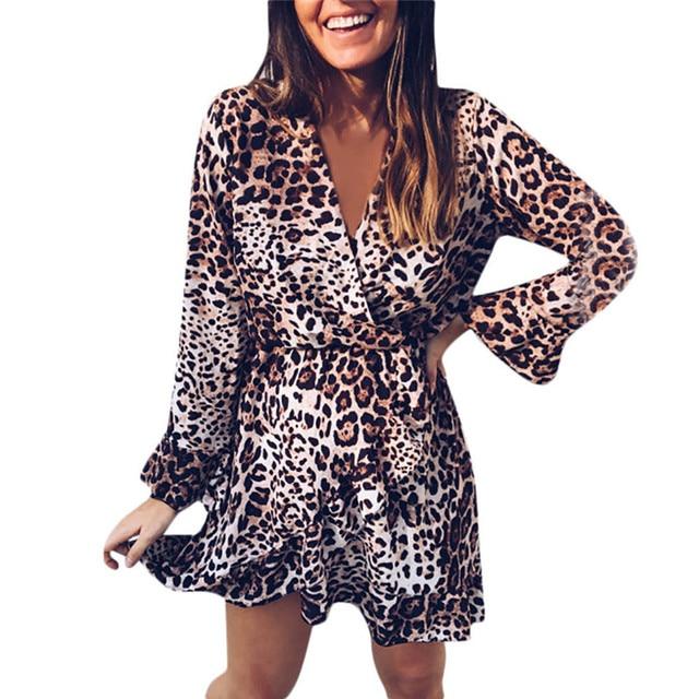 2a2fb8db2344a V Neck Mini Dress Women Leopard Printed Sexy Dress Long FLare Sleeves Dress  Plus Size Vestido De Festa Free Shipping #F#40SR23-in Dresses from Women's  ...