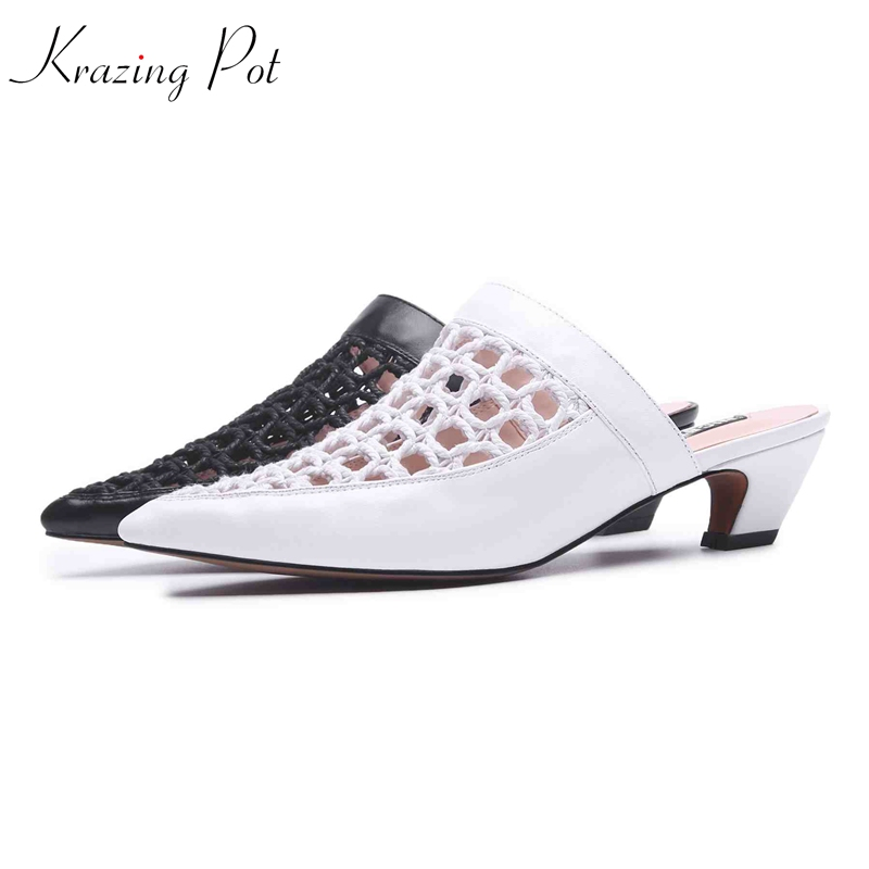 все цены на krazing pot genuine leather handmade woven mesh sandals breathable mules women strange med heels pointed toe summer shoes L62 онлайн
