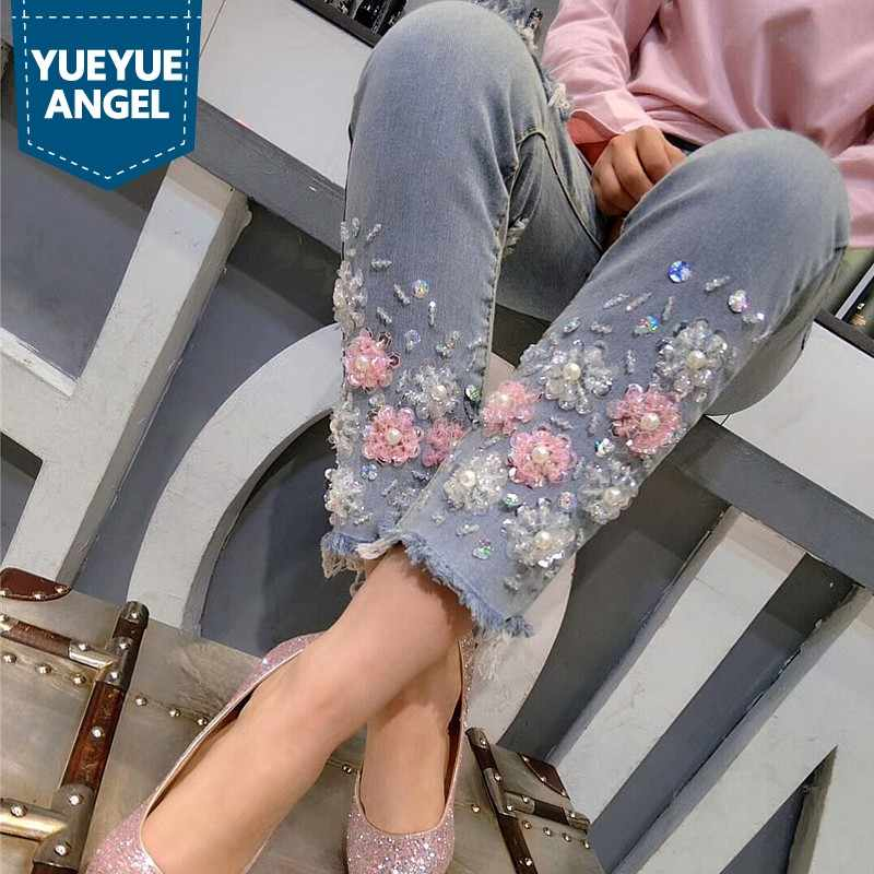 Womens Jeans 2019 New Korean Fashion Hole Ripped Stretchy Sequined Ankle-Length Pencil Pants Beading Sweet Slim Female Trousers