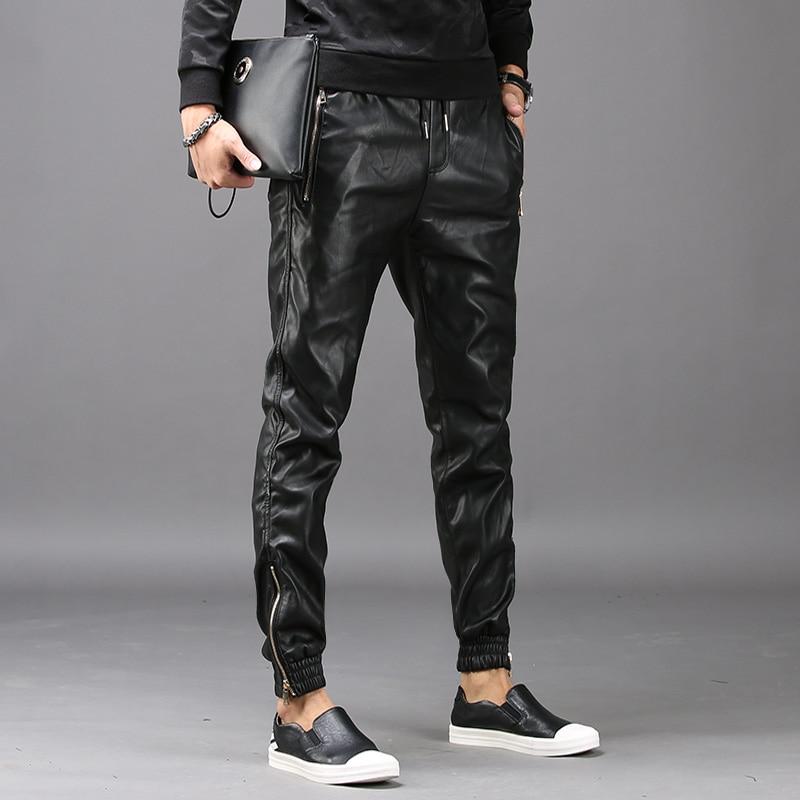 2019 nouvelle mode Mens hip hop sarouel Faux En Cuir pantalons pantalons masculins Poches taille elastique Pantalon Hombre grande taille