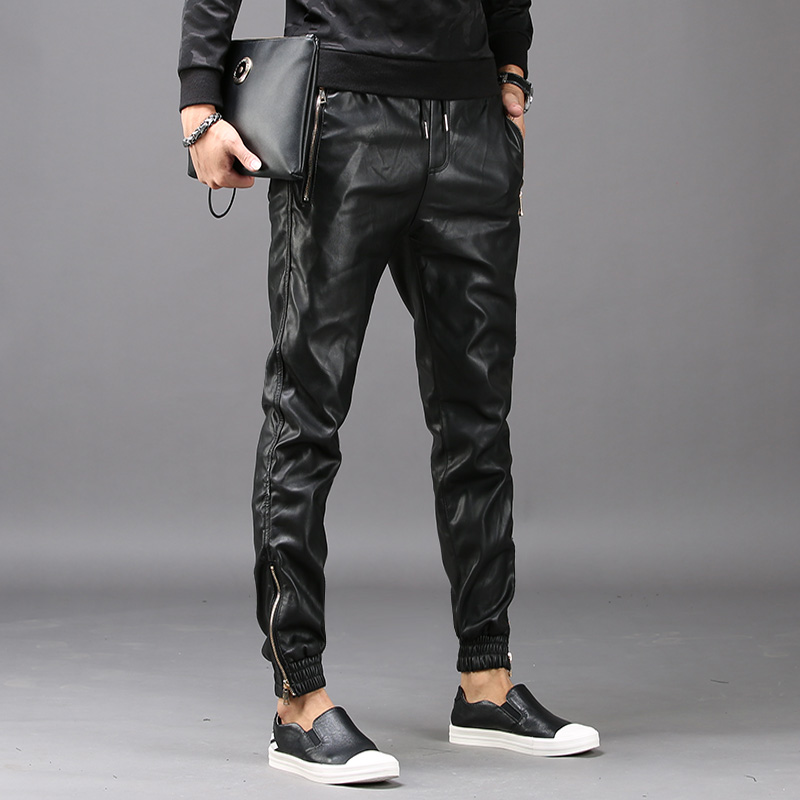 New Fashion Mens Hip Hop Harem Pants Faux Leather Long Pants Male Trousers Pockets Elastic Waist Pantalon Hombre Plus Size