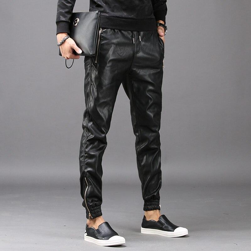 New Fashion Mens Hip Hop Harem Pants Faux Leather Long Pants Male Trousers Pockets Elastic Waist Pantalon Hombre Plus Size