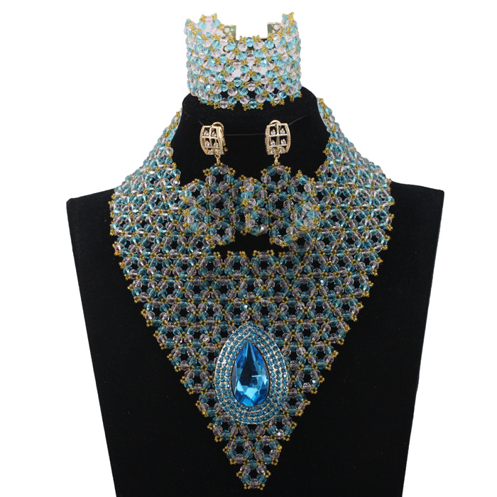 Latest Blue Statement Crystal Necklace Set Peach African Beaded Bridal Jewelry Set New Free Shipping HX651Latest Blue Statement Crystal Necklace Set Peach African Beaded Bridal Jewelry Set New Free Shipping HX651