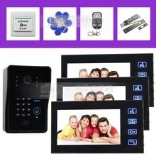 DIYSECUR 7 Inch Video Door Phone Intercom System IR Password Keypad RFID Reader Camera Electric Bolt Lock 1 Camera 3 Monitor