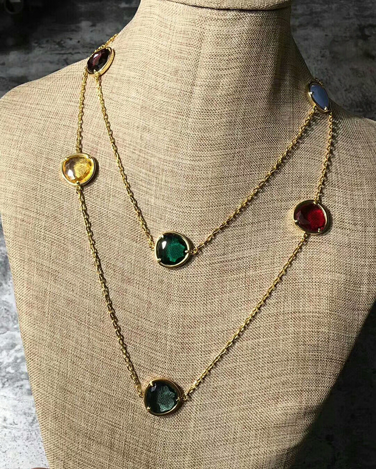 Hot Middle East Brand Fine Jewelry For Women Color crystal Natural Stone Sweater chain Drop neckalce 90cm