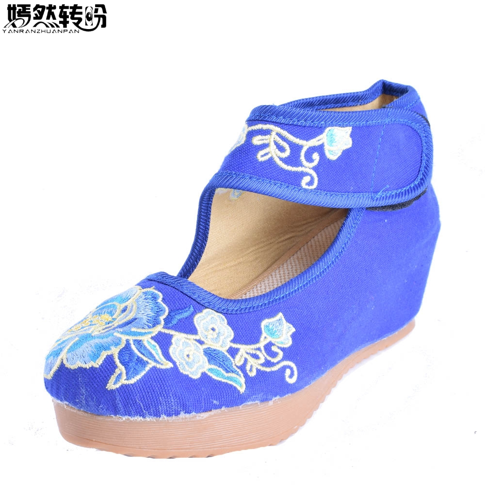 Vintage Women Pumps National Wedges Shoes Retro Old Peking 5cm Heeled Canvas Flower Dance Soft Shoes Zapatos Mujer vintage embroidery women flats chinese floral canvas embroidered shoes national old beijing cloth single dance soft flats