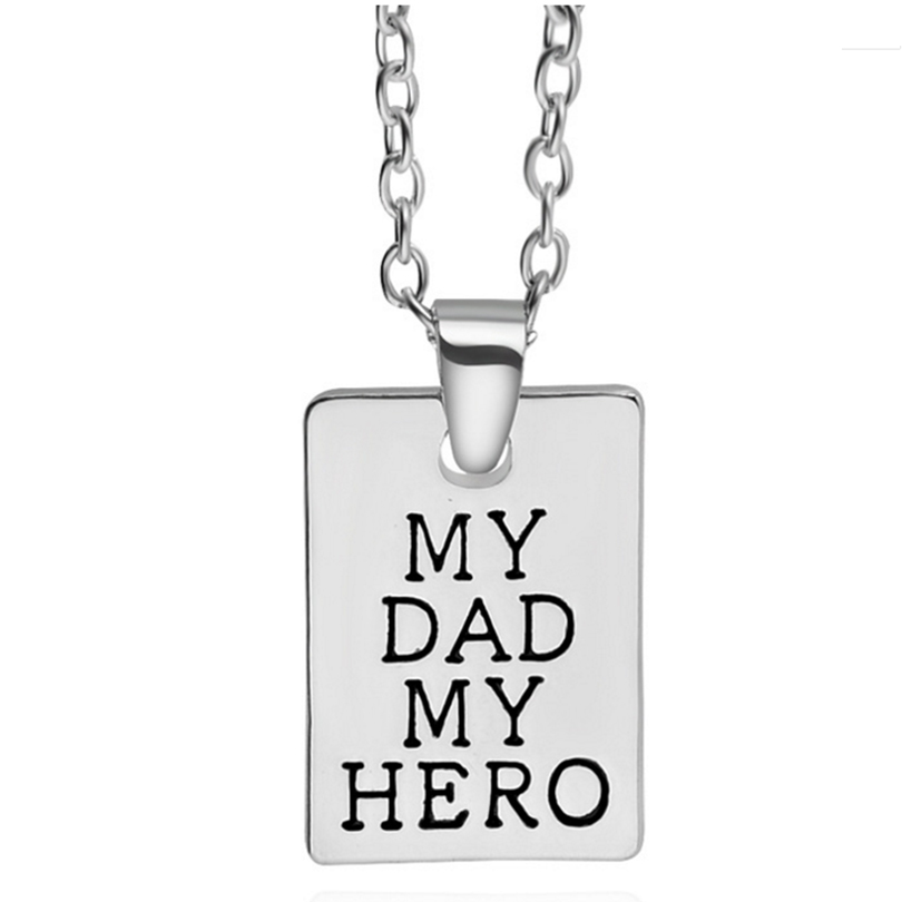 Charm Rectangle Pendant&Necklace Fathers Day Gifts My Dad My Hero Letter Silver Mens Chain Necklace Jewelry Mens Long Necklace
