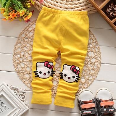 (1 Teile/los) 100% Baumwolle 2016 Cartoon Katze Gelb Baby Mädchen Leggings Grade Produkte Nach QualitäT