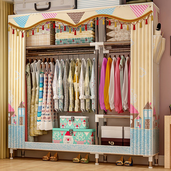 Simple Wardrobe Steel Pipe Bold Reinforcement Cloth Cabinet Fabric Simple Modern Economical Assembly Wardrobe Storage Cabinets