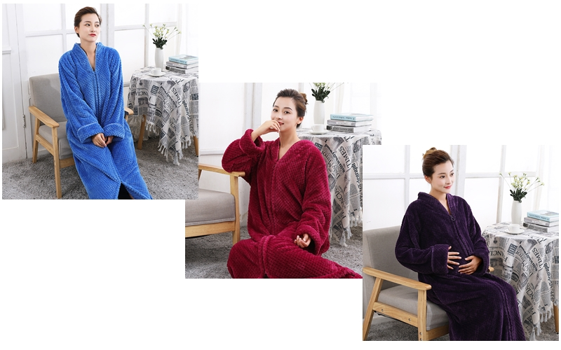 bf7f0067bd25 Couples Long Flannel Robe Women Gown Men Oversize Loose Home Clothing Winter  Bathing Robe Thicker Warm With Zipper Robe Vintage