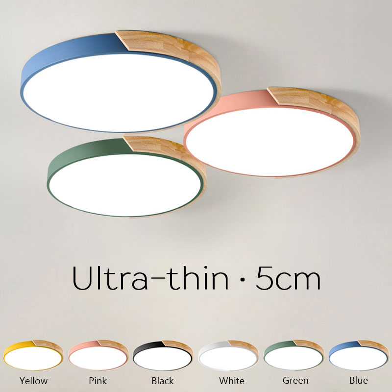 Ultra-thin 5cm Round Wooden LED Ceiling Lights Macaron Color Ceiling Lamp For Living Room Dining Hall Kitchen Lighting Fixtures 2018 new macaron color led ceiling lights round 5cm ultra thin ceiling lamp for bed children s room led lamp lamparas de tech