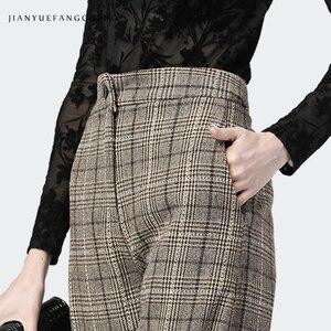 Image 4 - Trousers Women High Waist Wide Leg Pants Plus Size Wool Ladies Pants 2018 Streetwear Thick Winter Pantalon Women Plaid Pants