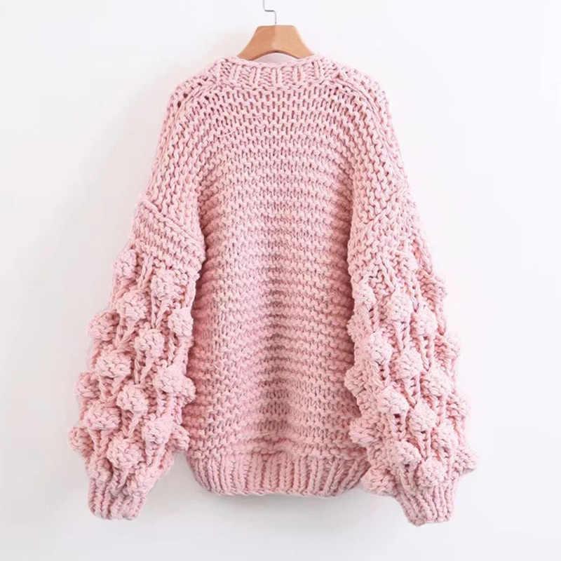 TryEverything розовый грубый вязаный свитер для женщин 2019 зима модный фонарь рукав кардиган женский открытый спереди Корея пальто