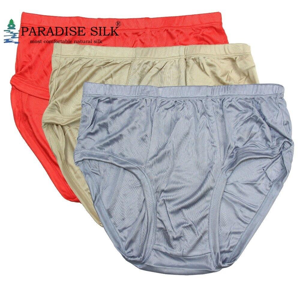 Men's Briefs Lot 3 Pair 100% Knit Pure Silk Bikini Briefs Underwear Solid Size US M L XL