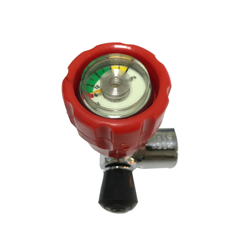 New PCP Rifle Valve Red Gauged Paintball Valve SCBA Valve For Compressed Air Carbon Fiber Cylinder Air Softgun Acecare AC911-H