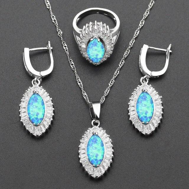 Eye White Zircon Blue Opal Wedding Jewelry Sets For Women Silver