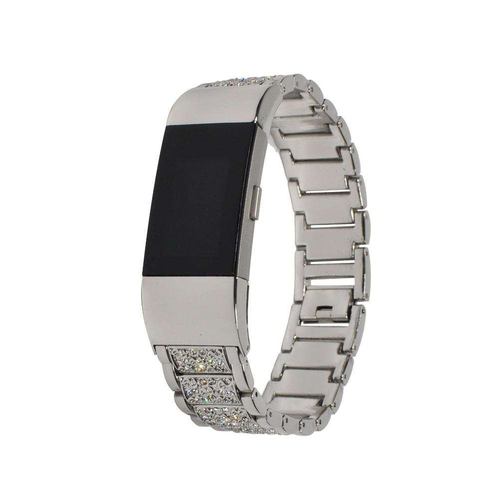 Watchband for fitbit charge2 Stainless Steel Crystal Rhinestone Diamond Watch Band Luxury Bracelet Strap Watch Accessories Bands