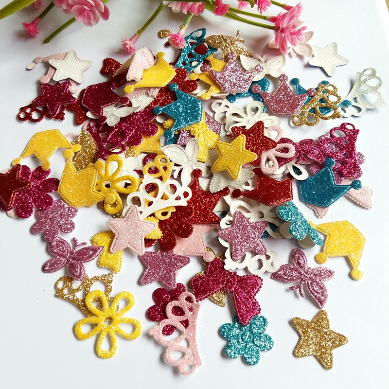 mix Shape 100pcs  Glitter felt patches for Sewing Supplies diy craft ornament kids birthday party decoration