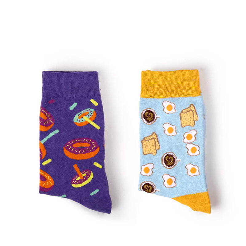 Avocado Omelette Burger Plant Fruit Food Socks Funny Cotton Socks Women Winter Men Unisex Happy Japanese Kawaii Socks Female in Socks from Underwear Sleepwears