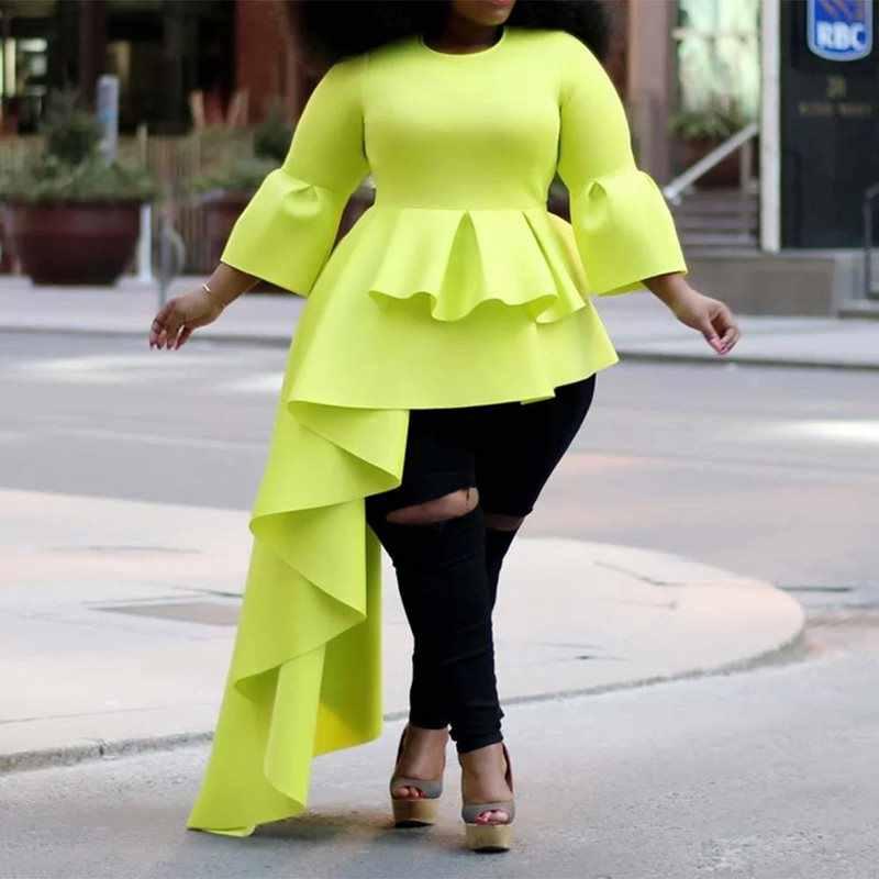 Летние повседневные элегантные черные женские блузки в африканском стиле больших размеров, тонкие простые длинные топы Falbala, женские 2019 шикарные рубашки