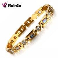 Rainso Bio Braccialetto di Energia con 3 Intelligente Fibbie Magnete Health Care Bracciale Elementi Bracciali D'oro Per Le Donne Fidanzata Regalo