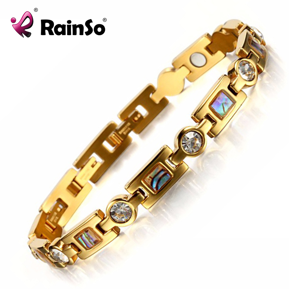 Rainso Bio Energy Armband med 3 Smart Buckles Magnet Armband Hälsovård Elements Guld Armband För Women Girlfriend Gift