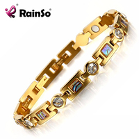 Rainso bio الطاقة سوار مع عناصر 3 الذكية أبازيم سوار المغناطيس الرعاية الصحية الذهب أساور للنساء صديقة هدية