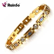 Rainso biyo enerji bilezik 3 akıllı tokaları mıknatıs bilezik sağlık elemanları altın bilezikler kadınlar için kız arkadaşı hediye