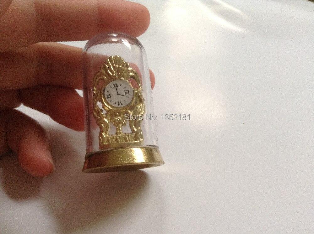 1:12 милые кукольная Миниатюра Ретро золото прозрачный щит часы 4012 ...