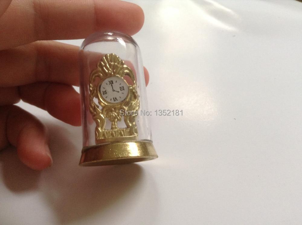 1:12 Cute Dollhouse Miniature retro gold transparent shield clock 4012