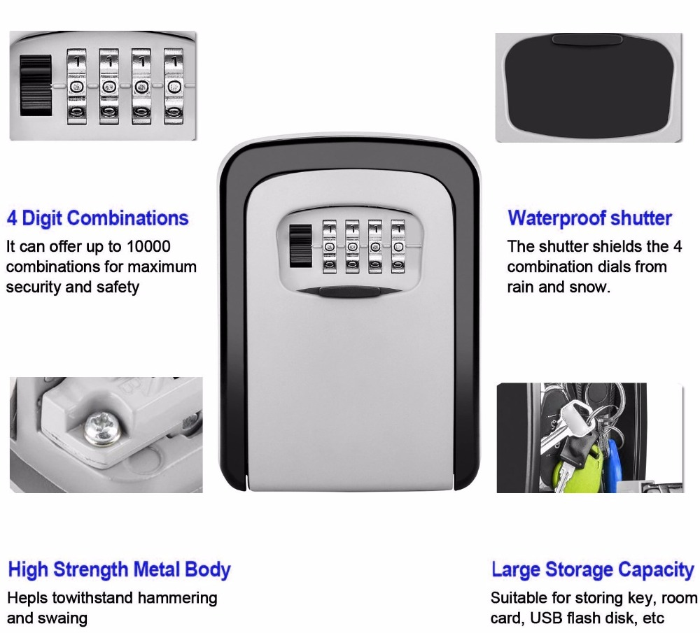 Safety Wall Mounted Combination Password Keys Locked Home Durable Storage Box Money Key Hider 4 Digit Security Secret Code Lock