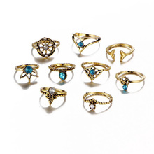 Infery 9pcs/Set Fashion Vintage Gold Silver Color Rudder And Crown Knuckle Rings Bohemian Female Ring Sets for Women 1R079