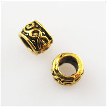 Fashion 80Pcs Antiqued Goud Kleur Ronde Bloem Tube Spacer Kralen 5 Mm(China)