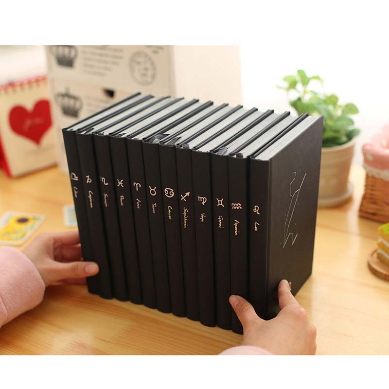 Black Notebook Notepad Program Diary 12 Constellations Black Super Stationery Thick Manuscript Planner Personalized Work Book