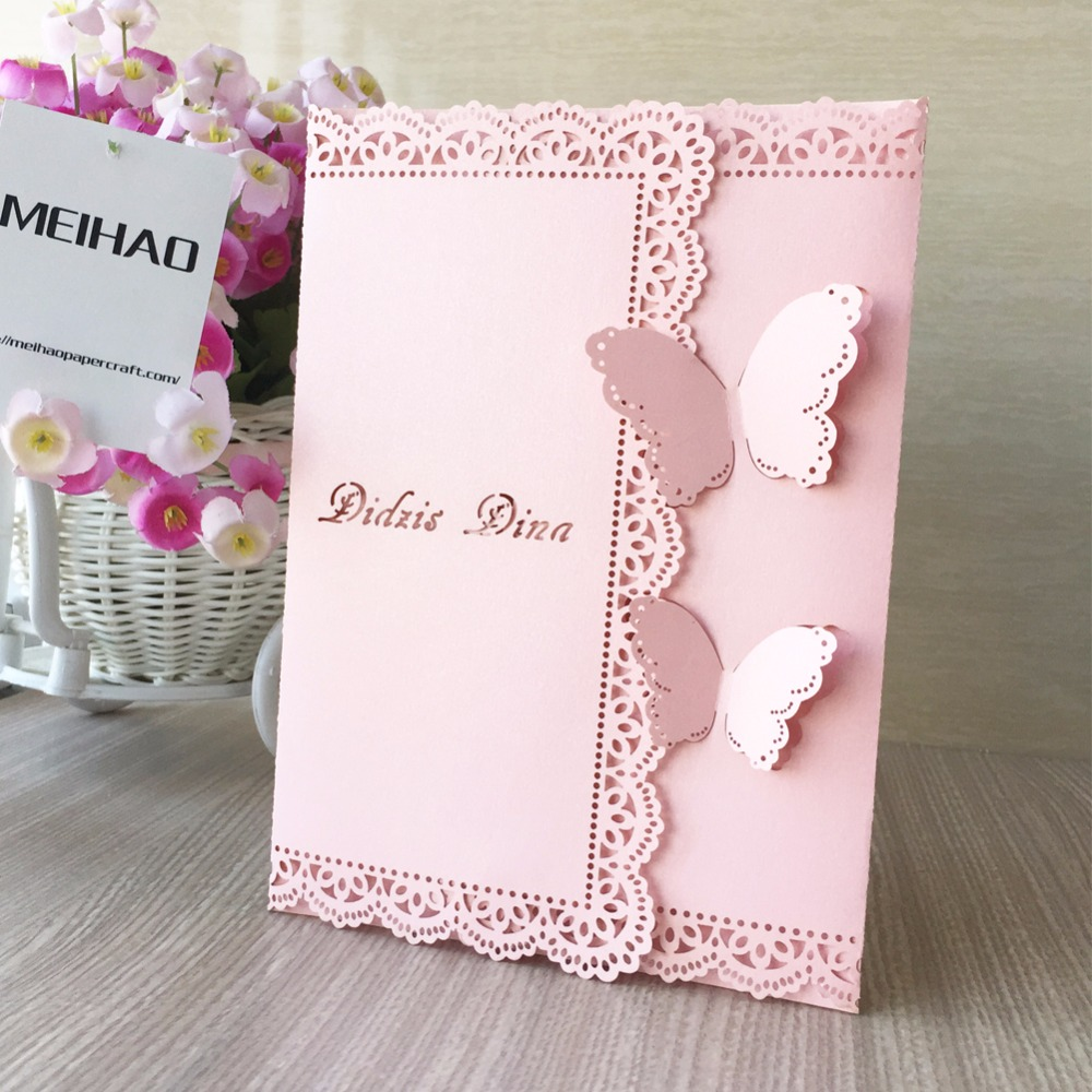 50pcs Vintage Wedding Invitation Cards Unique Butterfly Open Lace Invitation Cards Can With