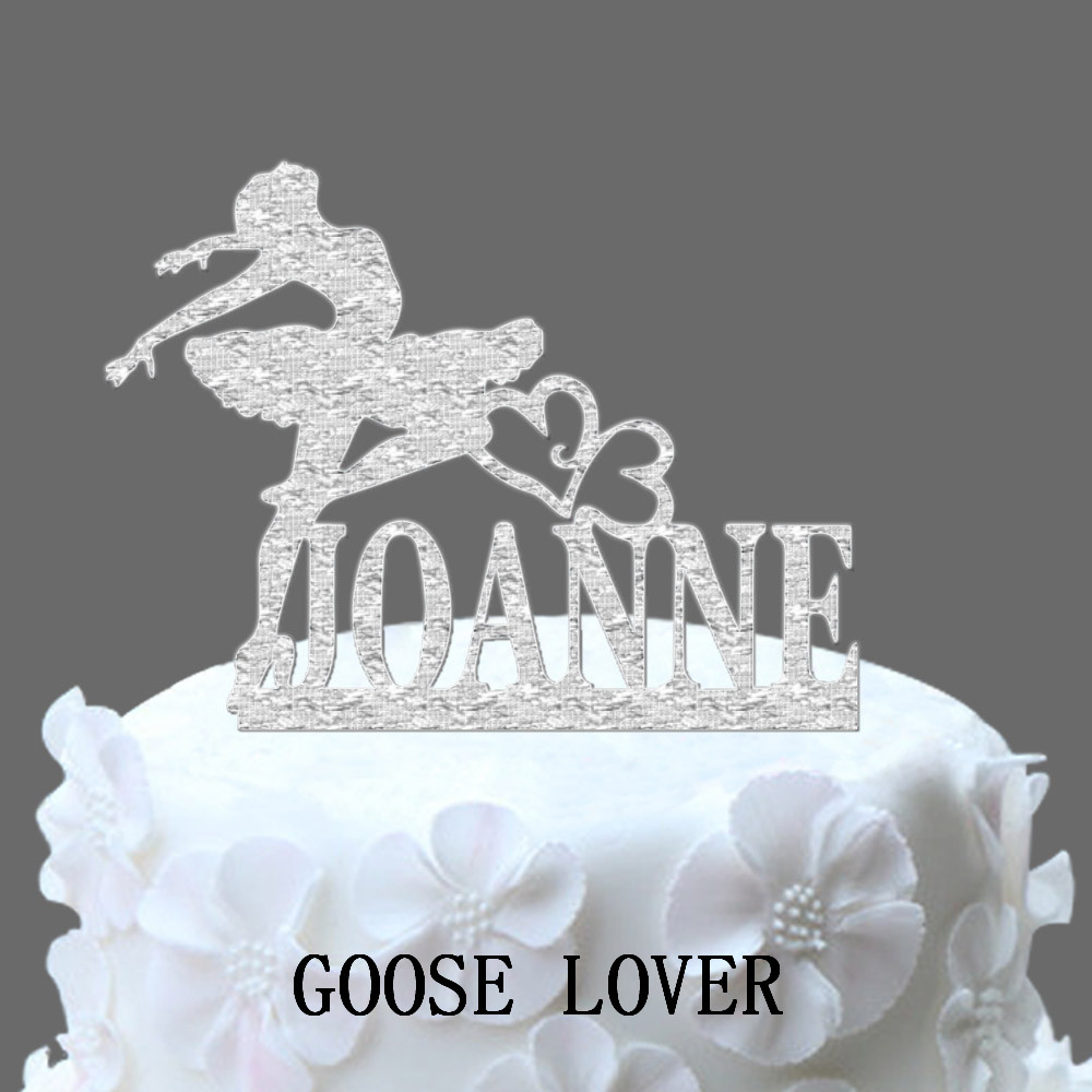 Ballerina Dancer Wedding Cake Topper Personalized Name Cake Topper, Birthday Cake Topper Monogram
