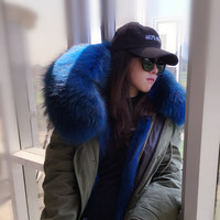 Winter 2016 Star Same Paragraph Large Fur Collar Wadded Jacket Solid Color Medium Long Cotton Padded