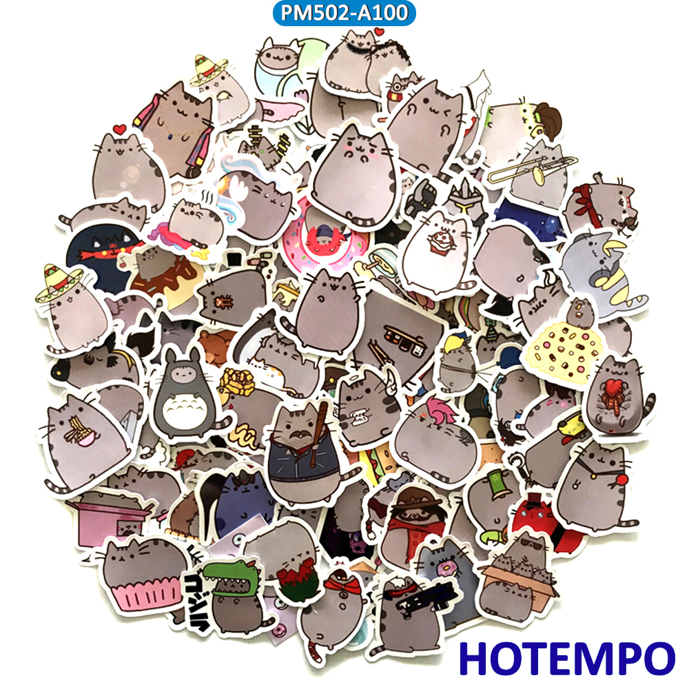 100-pcs-cute-cartoon-fat-emoji-cats-stickers-for-mobile-phone-laptop-skateboard-snowboard-bicycle-bike-phone-waterproof-stickers