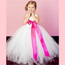 12 Color Ribbon Bow 2-14Y White Flower Girl Tutu Dress For Birthday Photo Bridesmaid Wedding Party Festival Girls Flower Dresses