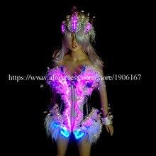 Новый светодиодный световой Костюмы для бальных танцев Для женщин сексуальный костюм леди Танцы для ночных клубов и вечеринок Этап платье Костюмы с Головные уборы