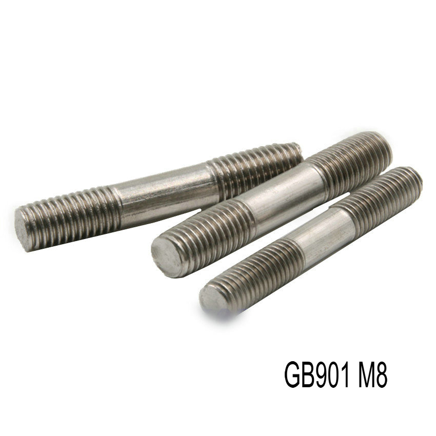 Double Head Titanium Bolt M8 x30 <font><b>40</b></font> <font><b>50</b></font> <font><b>60</b></font> 70 80 90-150mm Ti Bolts Original Ti Color Not Polished Grade 2 Titanium Screw Fastener image