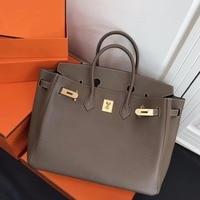 DCM Genuine Calfskin Leather Lady Tote Bag Platinum Clutch bag 30CM 35CM