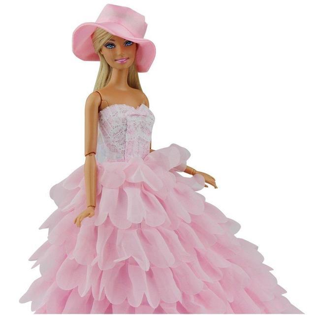 LeadingStar Princesa Roupas de Festa À Noite Veste Conjunto Roupa Vestido  para Boneca Barbie com Chapéu 42c5ea337d3