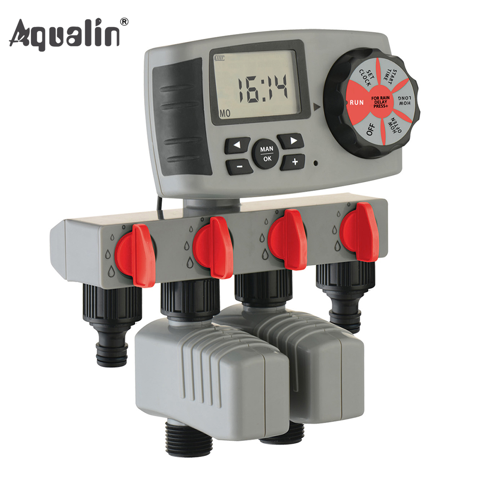 2017 Aqualin Automatic 4 Zone Irrigation System Watering Timer Garden Water Timer Controller with 2 Solenoid