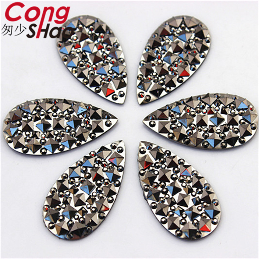 Купить с кэшбэком Cong Shao 5 Size Gun Black Flatback Resin Drop Rhinestone Stones And Crystals DIY For Wedding Dress Crafts Decorations YB381