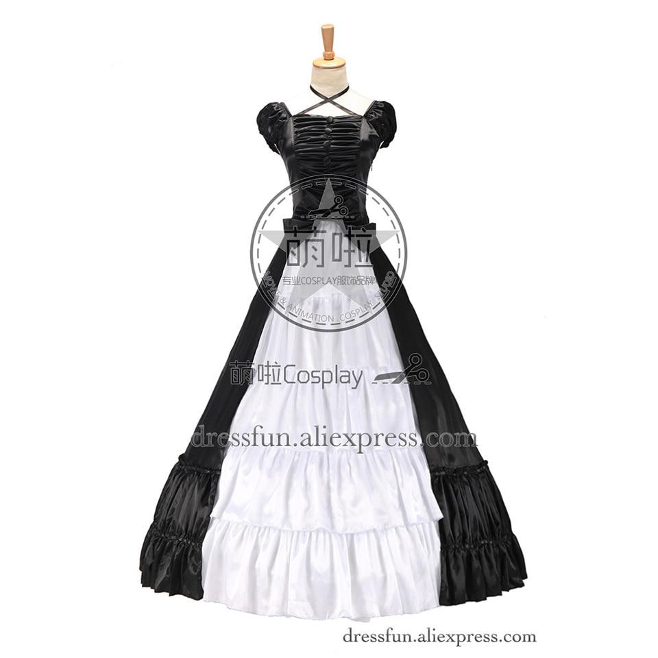 Guerre civile sud Belle gothique Lolita Satin robe de bal manches courtes robe noir et blanc robe mystérieuse dans la cour européenne